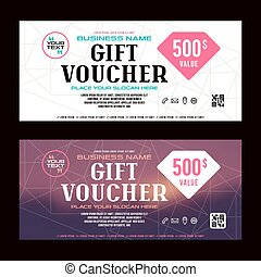 Gift voucher template. Printed on white or blurred...