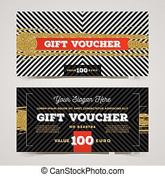 Gift voucher template with glitter gold elements. Vector...