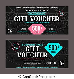 Gift voucher template. Printed on black background