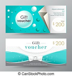 Gift voucher template. promotion card, Coupon design. vector...