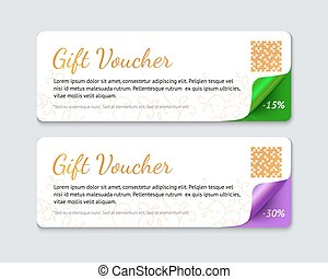 Gift voucher template, realistic vector illustration