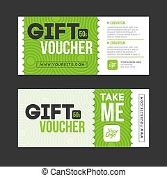 Gift voucher template set. Two gift cards design.
