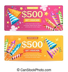 Gift Voucher Template Set. Vector