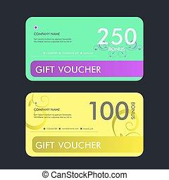 Gift voucher template. Vector design illustration