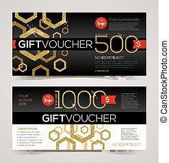 Gift voucher template vector design with glitter gold