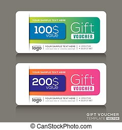 Gift voucher template with abstract colorful modern design background