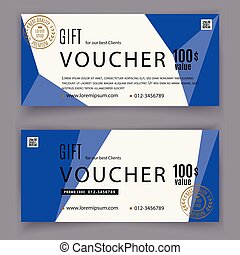 Gift voucher template with blue triangle design elements. Gift voucher value 100 dollars for department stores, business. Abstract background