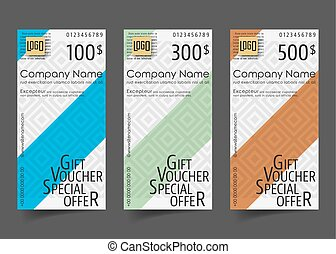 Gift voucher template with geometric pattern. Vector...