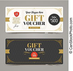 Gift voucher template with glitter gold, Vector...