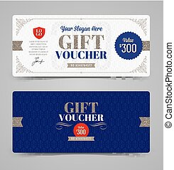 Gift voucher template with glitter silver, Vector...