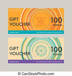 Gift voucher template with modern circle design.