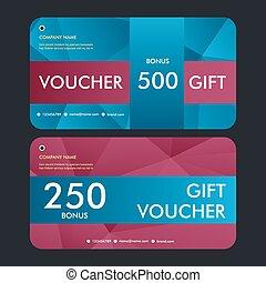 Gift voucher template with modern pattern. Vector design