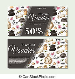 Gift voucher template with spa elements in hand drawn style. Sketch illustration. Design certificate for spa salon, beauty center. Vector pattern