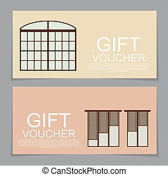 Gift Voucher Template with variation of Windows Discount Coupon Vector Illustration