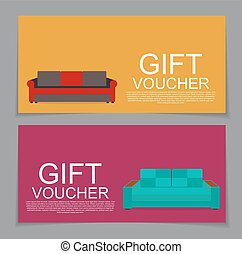 Gift Voucher Template with variation of Sofa Discount Coupon Vector Illustration.