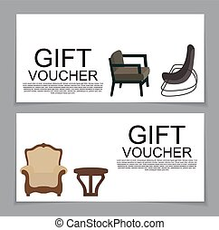 Gift Voucher Template with variation of furniture for apartments Discount Coupon. Vector Illustration.