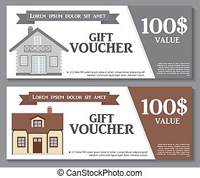 Gift Voucher Template with variation of House Discount Coupon. Vector Illustration.