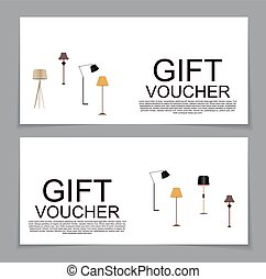 Gift Voucher Template with variation of Lamp Discount Coupon. Vector Illustration.