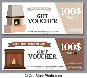 Gift Voucher Template with variation of fireplaces, stoves Discount Coupon. Vector Illustration.