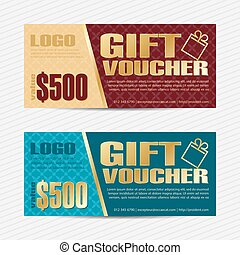 Gift voucher vector template - Gift voucher template. Back...
