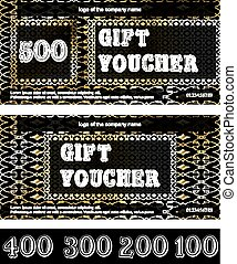 gift voucher with a gold texture