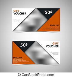Gift voucher with abstract design triangles template