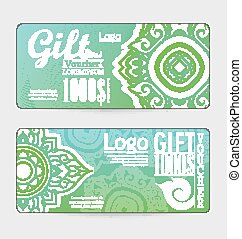 gift voucher with line Thai design