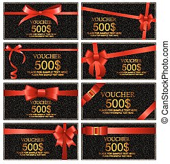 Gift Voucher with Red Bow and Ribbon Set Template For Your Business. Vector Illustration