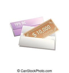 gift voucher with white envelope illustration. Vector illustration.