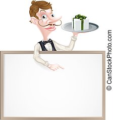 An illustration of a cartoon waiter holding a tray with a gift on it and pointing at a signboard