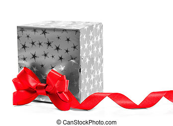 Gift with a red bow. Isolate on white background