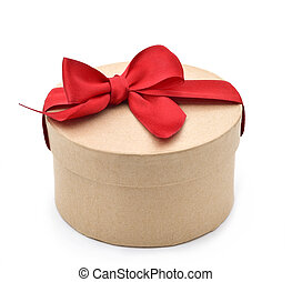 gift with a red ribbon bow