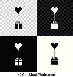 Gift with balloon in shape of heart icon isolated on black, white and transparent background. Valentine's day, wedding, birthday card. Vector Illustration
