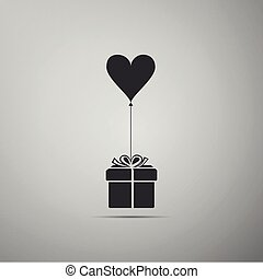 Gift with balloon in shape of heart icon isolated on grey background. Valentine's day, wedding, birthday card. Flat design. Vector Illustration