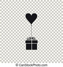 Gift with balloon in shape of heart icon isolated on transparent background. Valentine's day, wedding, birthday card. Flat design. Vector Illustration