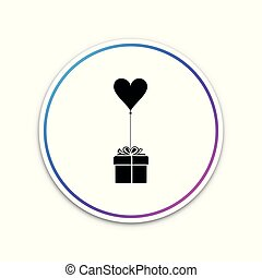 Gift with balloon in shape of heart icon isolated on white background. Valentine's day, wedding, birthday card. Circle white button. Vector Illustration