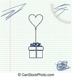 Gift with balloon in shape of heart line sketch icon isolated on white background. Valentine's day, wedding, birthday card. Vector Illustration