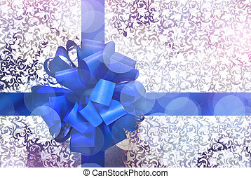 Gift with blue bow and ribbon