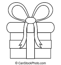 gift with bow line icon