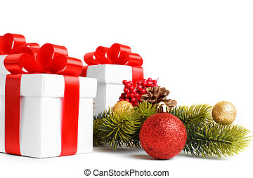 Gift with christmas tree and candy isolated on white...
