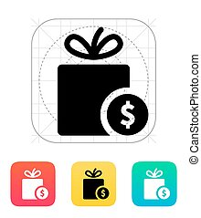 Gift with price tag icon.