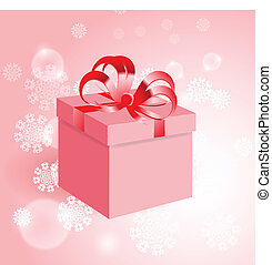Gift with red bow on background