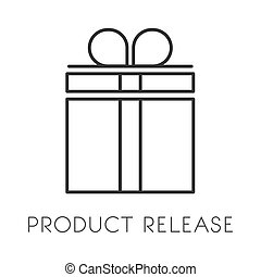 Gift with ribbon isolated linear icon, product release