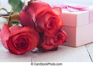 Gift with roses