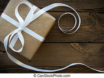 Gift With White Ribbon