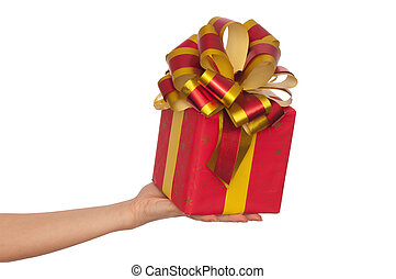 woman giving a red box with yellow bow as a gift