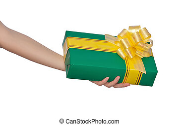 gift - woman giving a present in the green box with yellow...