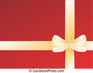 gift wrap - vector illustration of a golden wrap on a red...