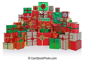 Gift wrapped Christmas presents isolated on white