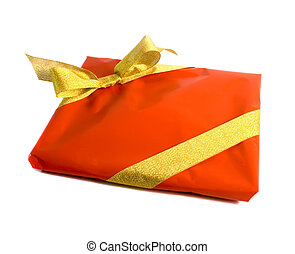 Gift wrapped in red and gold isolated over white background.